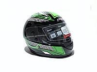 Шлем интеграл F2 Wind, черно зеленый глянец прозрачный визор