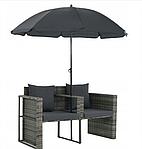 Садовый диван VidaXL двухместный с подушками и зонтиком, фото 3