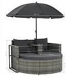 Садовый диван VidaXL двухместный с подушками и зонтиком, фото 8