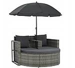 Садовый диван VidaXL двухместный с подушками и зонтиком, фото 2
