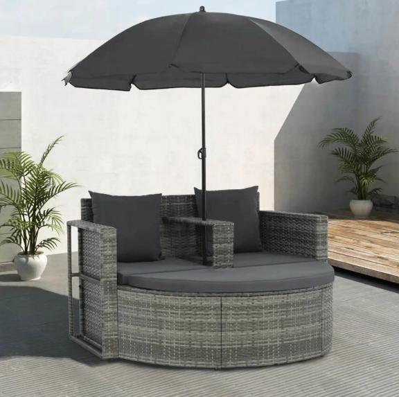 Садовый диван VidaXL двухместный с подушками и зонтиком