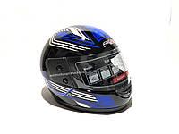 Шлем интеграл F2 Wind, черно синий глянец прозрачный визор