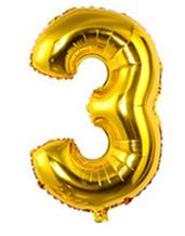 Кульки повітряні, фольговані, 32 дюймів, цифри, 3, золото