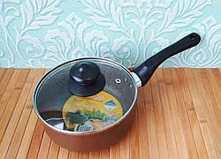 Ковш кухонный мраморный с крышкой 16 см | Ковшик | Сотейник с крышкой мраморная крошка 1.5 л
