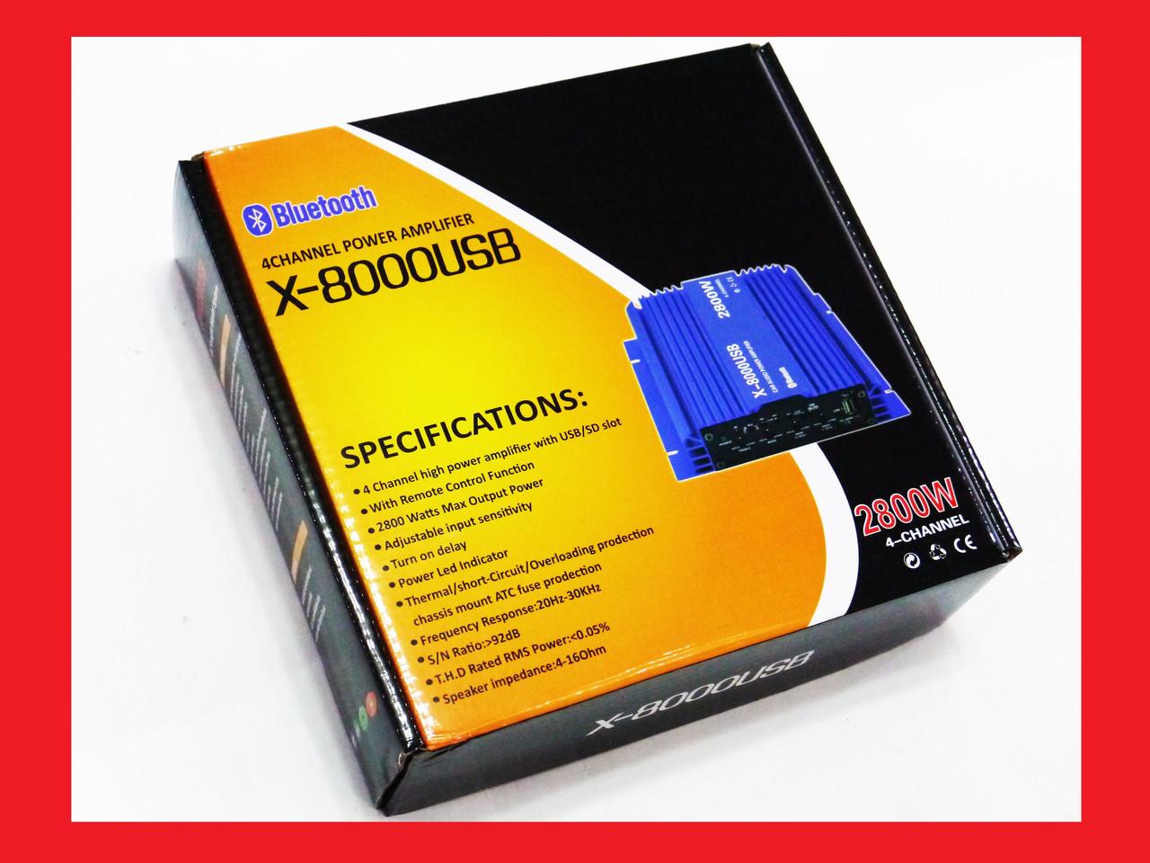 Усилитель X-8000USB - Bluetooth, USB,FM,MP3! 2800W 4х канальный