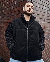 Куртка демісезонна чоловіча Пушка Огонь Yard вельветова чорна, фото 1
