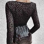 Женское боди черного цвета с декольте и бархатными чашками 6818457, фото 5