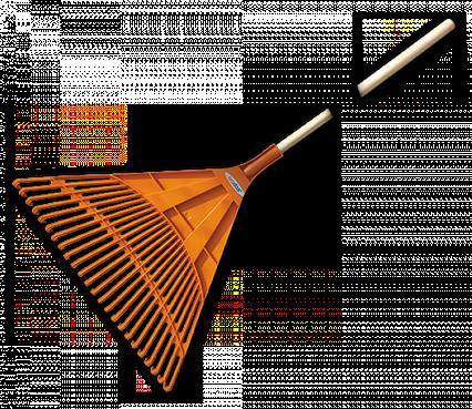 Граблі віялові - 24 зубці, дерев'яний держак, KT-CX24B