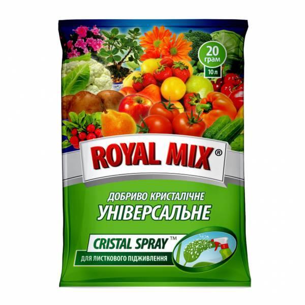 Добриво Royal Mix cristal spray універсальне (N-19;P-19;K-19;+мікроелем.+прилипач) 20г, Агрохімпак