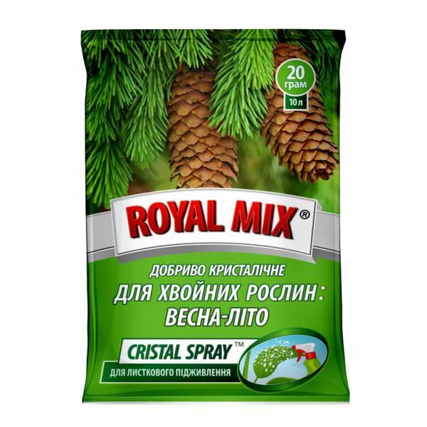 Добриво Royal Mix cristal spray для хвойних: весна-літо (N-20;P-14;K-21+мікроелем.+прилипач) 20г, Агрохімпак