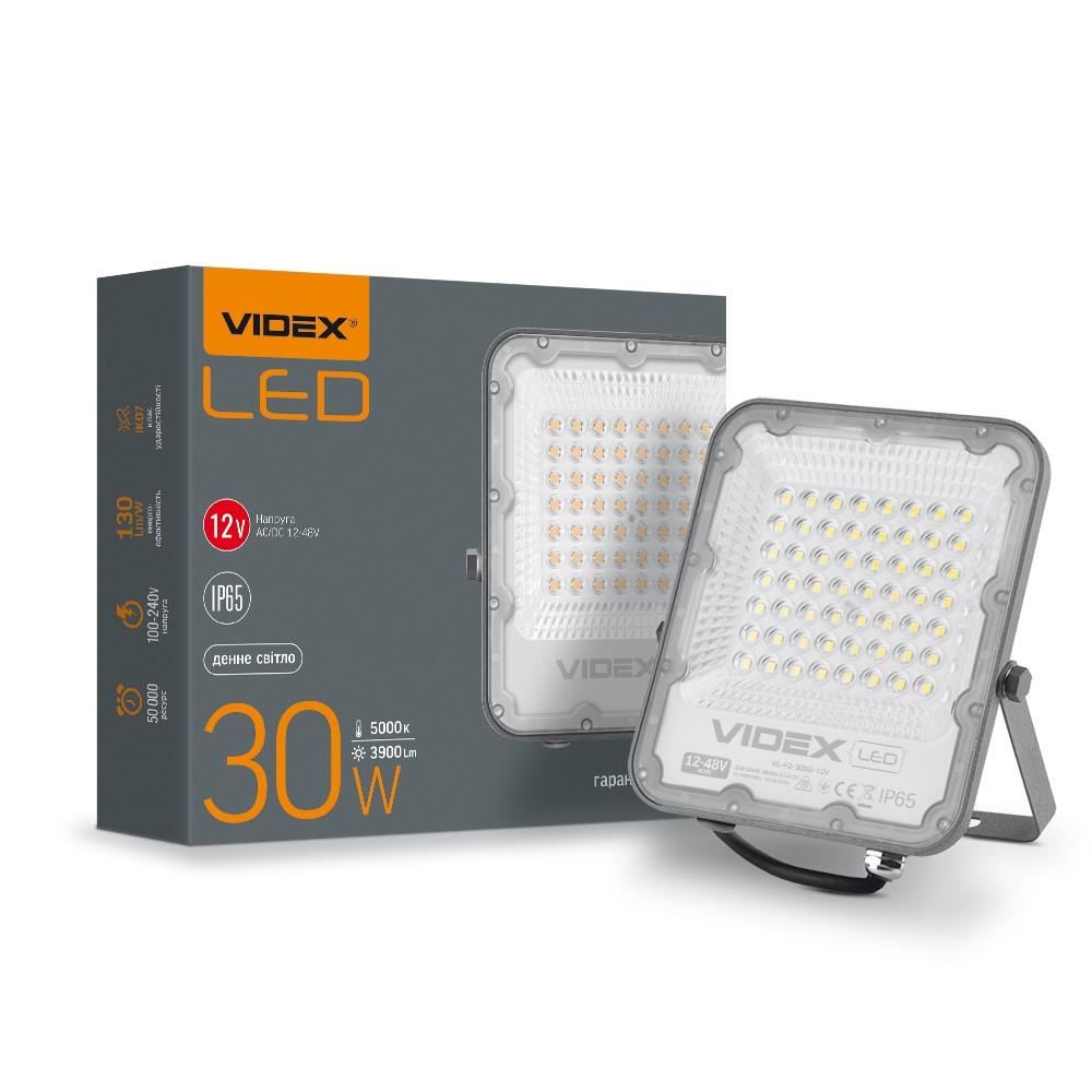 LED прожектор PREMIUM VIDEX 30W 5000K AC/DC12-48V