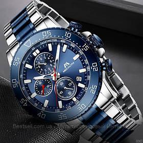 Часы оригинальные мужские наручные кварцевый хронограф Megalith 8087M Silver-Blue / часы оригинал