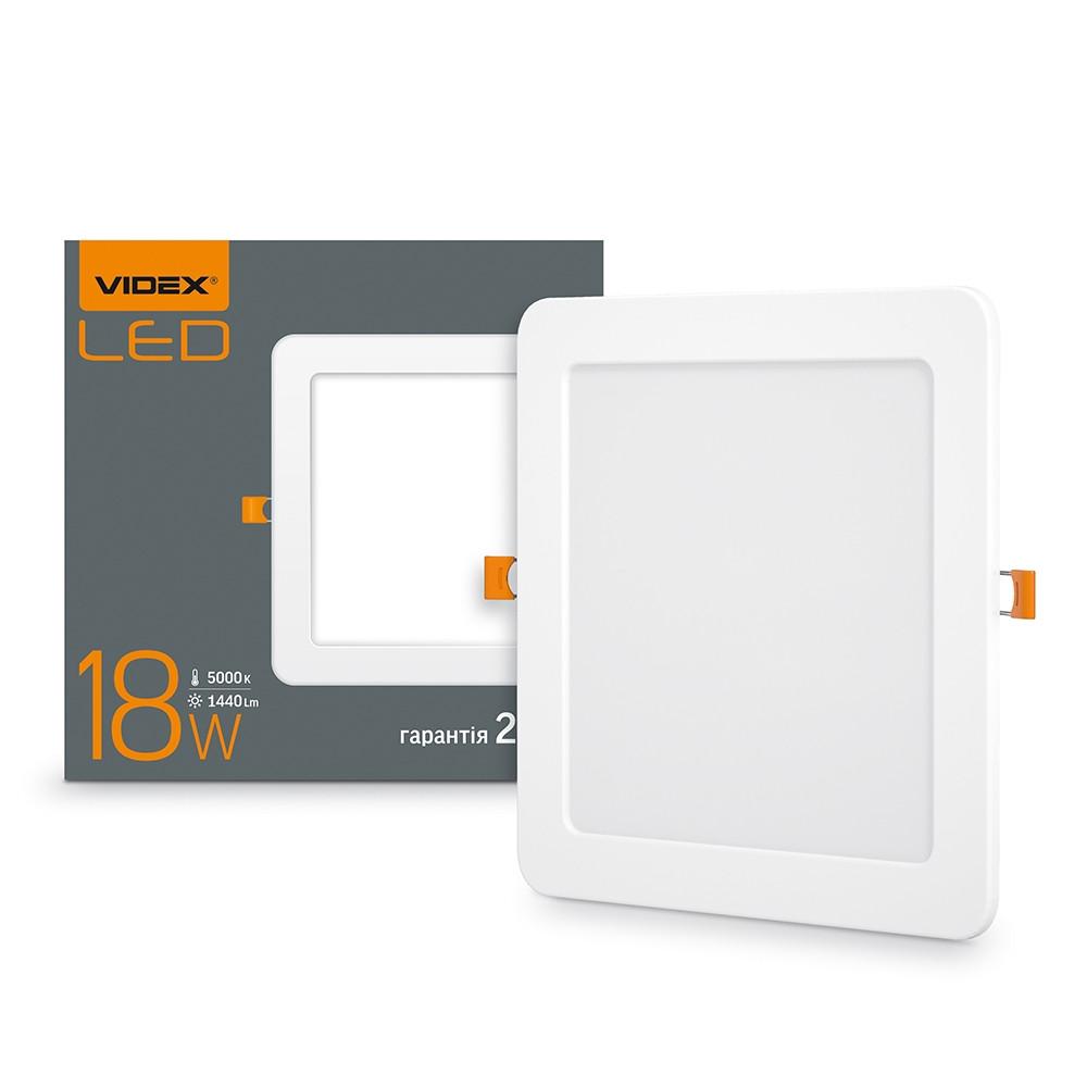 LED светильник встраиваемый квадрат VIDEX 18W 5000K