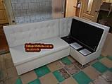Мягкий кухонный уголок Квадро 110х180см серый, фото 3