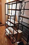 Стелаж книжковий MESS в стилі Лофт великий 1200x350x1800 полиці з ламінованого ДСП, фото 10