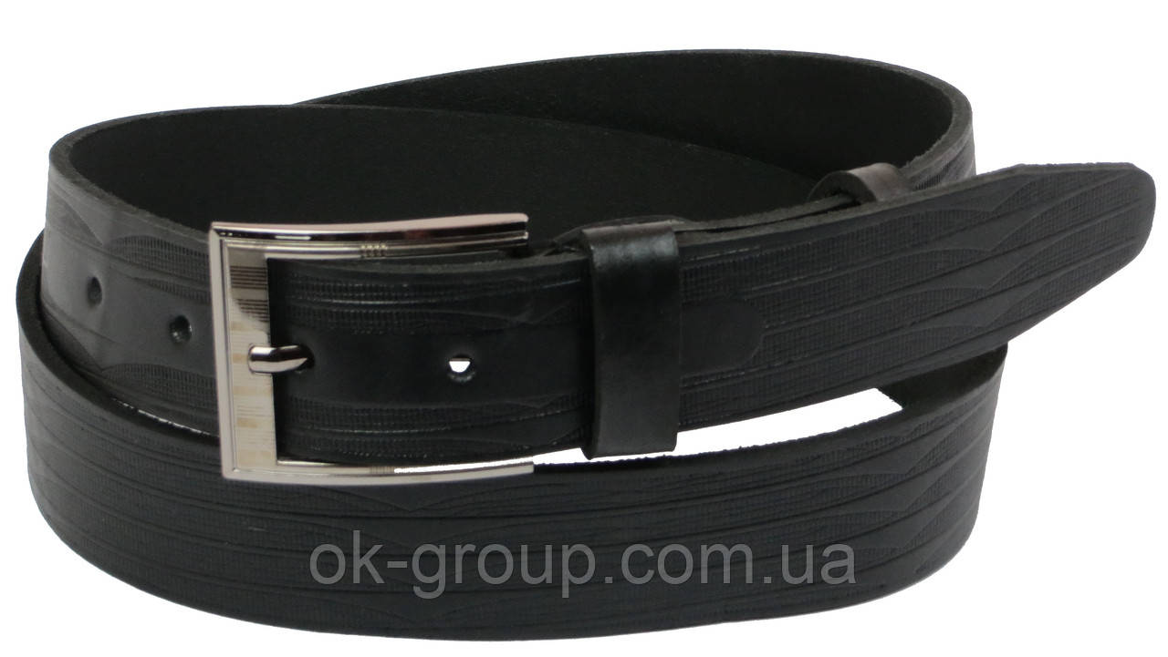 Мужской кожаный ремень под джинсы Skipper 1105-38 черный ДхШ: 134х3,8 см.