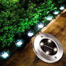 """Уличный светильник на солнечной батарее """"Bell Howell Disk lights"""" (4 led) - садовый фонарь"""