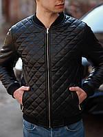 Бомбер мужской кожаный в ромбик черный | Куртка мужская кожаная. Фото в живую. Чоловіча куртка осінь-весна