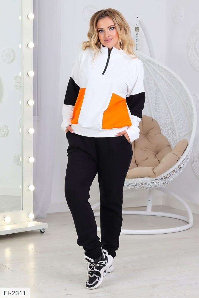 Женский спортивный трехцветный костюм (Батал)