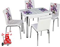 Обеденная группа комплект кухонной мебели стол и стулья, Flos,каленное стекло с оригинальным декором для кухни