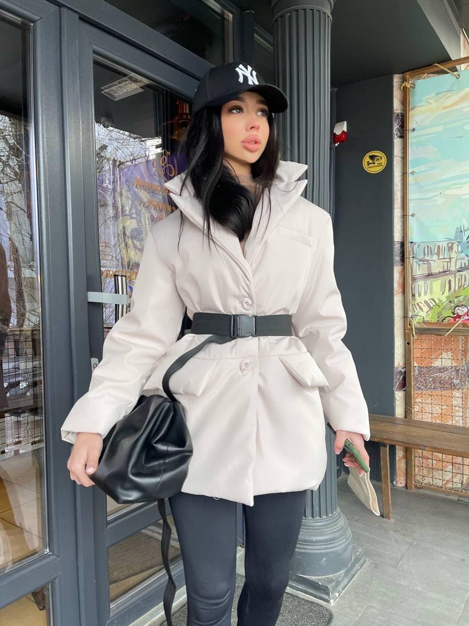 Демисезонная куртка пиджак женская с отложным воротником и карманами (р.S, M) 7101588