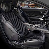 Накидки на передние кожаные сидения NAPOLI Elegant 700 216 черная алькантара пара