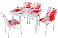 Обеденная группа комплект кухонной мебели стол и стулья,Rose,каленное стекло с оригинальным декором для кухни