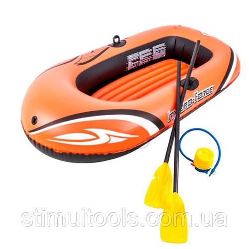 Одноместная надувная лодка Bestway Hydro-Force Raft Set 188-98 см (весла+ножной насос)