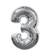 Кульки повітряні, фольговані, 32 дюймів, цифри, 3, срібло