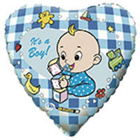 """Фольгированный шар с рисунком Flexmetal Круг 18"""" младенец мальчик"""
