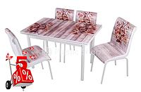 Обеденная группа комплект кухонной мебели стол и стулья,Pink,каленное стекло с оригинальным декором для кухни