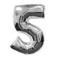 Кульки повітряні, фольговані, 32 дюймів, цифри, 5, срібло
