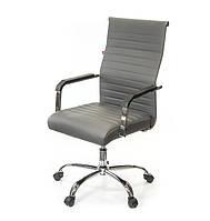 Крісло офісне Кап, сірий, комп'ютерне крісло на колесах з підлокітниками, FX СН TILT А-Клас