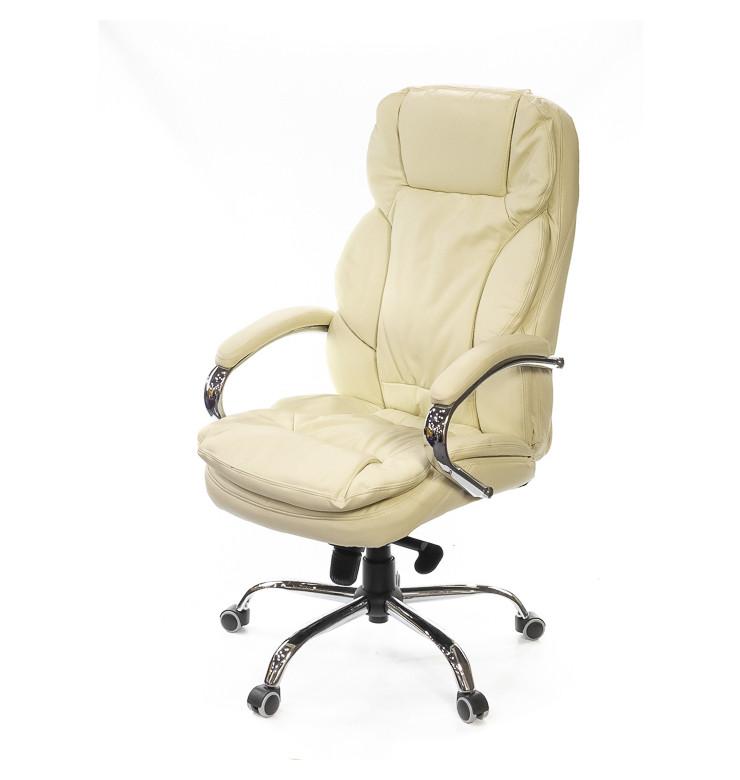 Крісло офісне Тіроль, бежевий, комп'ютерне крісло на колесах з підлокітниками, CH MB А-Клас