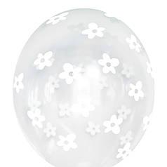 """0601 Шар 12"""" (30 см) Белые цветы на прозрачном (BelBal)"""