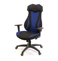 Крісло офісне Епсілон, чорно-синій, ергономічне м'яке комп'ютерне крісло, PL SR А-Клас