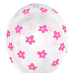 """0600 Шар 12"""" (30 см) Розовые цветы на прозрачном (BelBal)"""