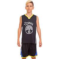 Форма баскетбольна підліткова NB-Sport NBA TOWN 30 4311 (PL, р-р M-2XL-130-165см, чорний-жовтий)