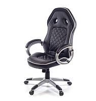 Крісло офісне Бліц, чорний, комп'ютерне крісло на колесах з підлокітниками, PL TILT А-Клас