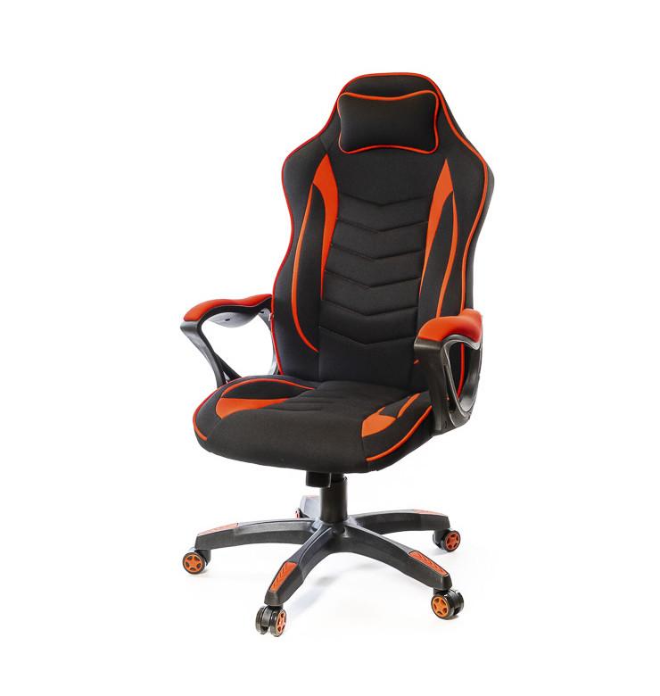 Крісло офісне Кронум, чорно-червоний, комп'ютерне крісло на колесах з підлокітниками, PL TILT А-Клас