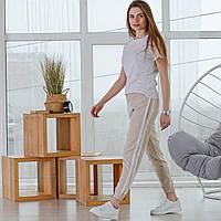 Женские спортивные штаны с лампасами на резинке Asos, турецкие стильные брюки, цвет бежевый