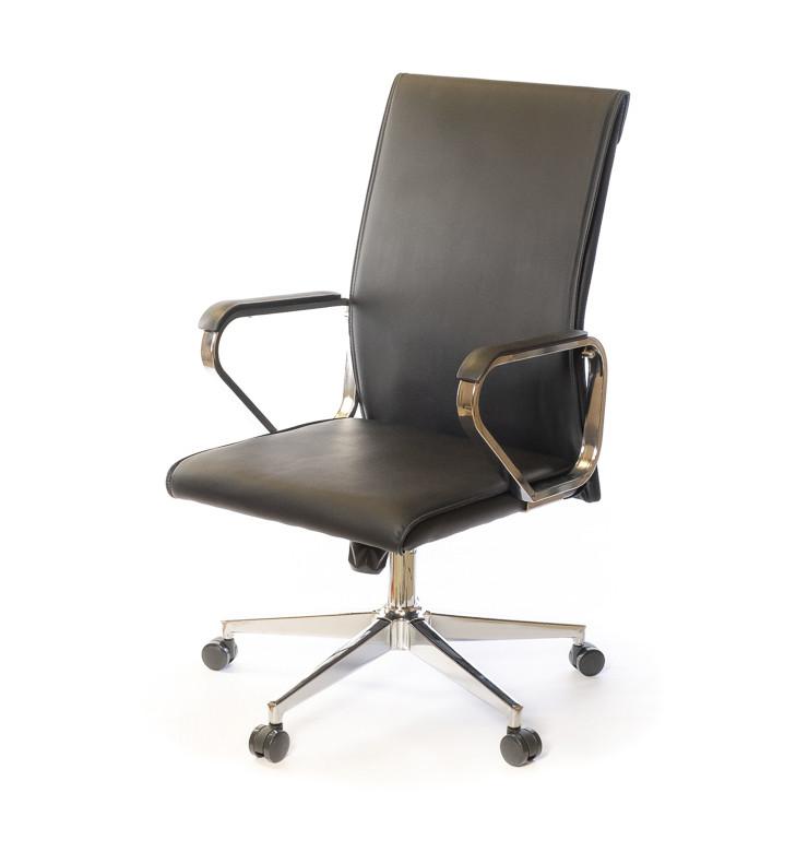 Крісло офісне Пауер, чорний, комп'ютерне крісло на колесах з підлокітниками, CH TILT А-Клас