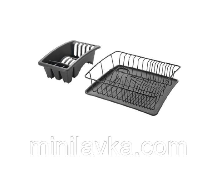 Сушилка METALTEX AQUANET PLUS для посуды 35x30 см черное пластиковое покрытие (325226 024)