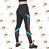 Cпортивные женские черные лосины со вставками сетки и бифлекса бирюзового цвета, фото 3