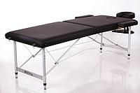 Кушетка на металлических ножках с регулировкой высоты, черная