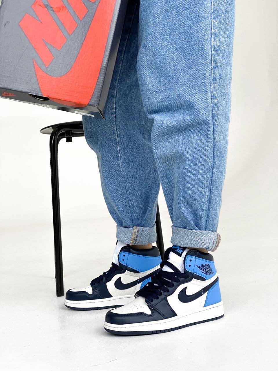 Женские кроссовки Nike Jordan PA340 бело-голубые