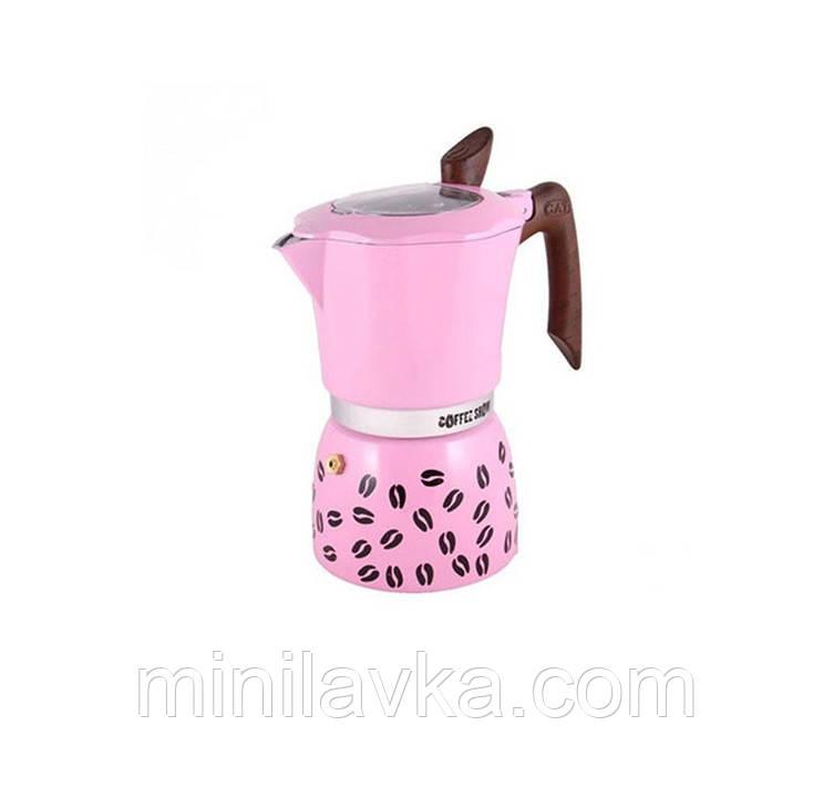 Гейзерная кофеварка GAT COFFEE SHOW розовая на 6 чашек (104606 рожева)