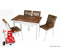 Обеденная группа комплект кухонной мебели стол и стулья,Merm,каленное стекло с оригинальным декором для кухни
