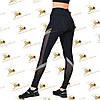 Cпортивные женские черные лосины со вставками сетки и трикотажа меланжевого цвета, фото 3
