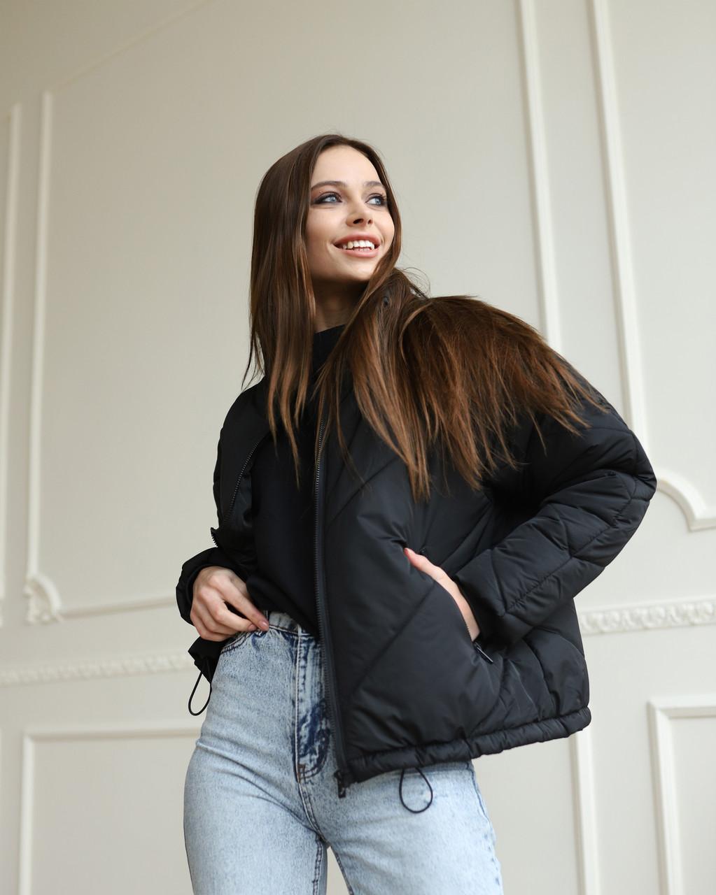 Куртка женская оверсайз черная от бренда ТУР модель Кейт, размеры: S, M